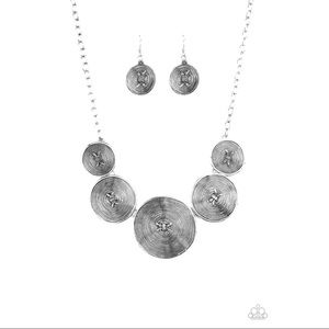 """Deserves A Medal"" Silver Necklace Earrings Set"